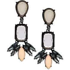 Reject boring style with Bar III's fab drop earrings! A chic mix of bold and bright, these linear designs feature peach and black diamond stones. Crafted in he…