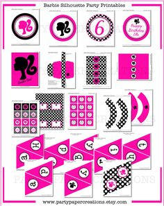 Barbie Birthday Party Hot Pink and Dots Printable Decor - Barbie Silhouette Party Decorations - DIY Tablescape. $22.00, via Etsy.