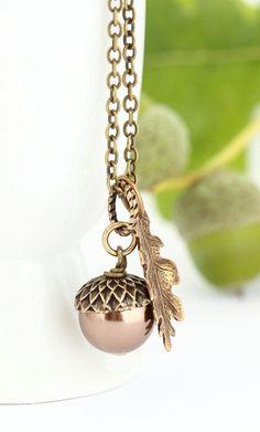 Dark Bronze Pearl Acorn Necklace With Antique