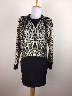Zara Dress Size Medium Animal Print Mini Pockets Black Brown Polyester  #ZaraWebCollection
