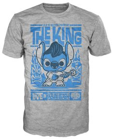 This Funko Pop! Tee features Stitch from Lilo & Stitch ready to play his ukulele at a luau dressed as Elvis. He's stylized as a Funko Pop! character on a grey printed, short sleeve unisex t-shirt with