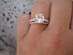 Engagement ring and rose gold wedding band; if the wedding band was thicker, it would be perfect Bling Bling, Future Mrs, Future Husband, Dear Future, Fru Fru, To Infinity And Beyond, Rose Gold Engagement Ring, Halo Engagement, Dream Ring
