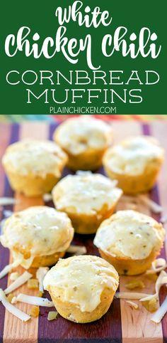White Chicken Chili Cornbread Muffins - quick cornbread muffins stuffed with…