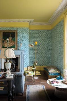 Farrow & Ball is launching four new wallpapers on Monday that are inspired by Japanese craftsm. Farrow Ball, Farrow And Ball Paint, Interior Styling, Interior Decorating, Interior Design, Decorating Ideas, Decor Ideas, Striped Room, Block Wall