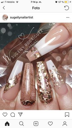 What manicure for what kind of nails? - My Nails Ongles Bling Bling, Bling Nails, Glitter Nails, Gold Stiletto Nails, Fabulous Nails, Gorgeous Nails, Pretty Nails, Glam Nails, Dope Nails