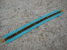 Tila and seed bead bracelet,brown and turquoise beadweaving bracelet on Etsy, $24.00