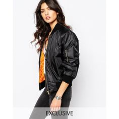 Reclaimed Vintage Retro MA1 Bomber Jacket (420 SAR) ❤ liked on Polyvore featuring outerwear, jackets, black, retro jackets, black zip jacket, shiny jacket, cropped bomber jacket and tall jackets