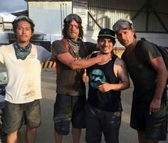 Norman Reedus, Steven Yuen, Andrew Lincoln and fan in Costa Rica