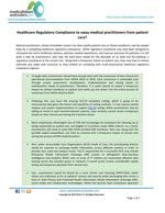 Healthcare Regulatory Compliance to sway medical practitioners from patient care?