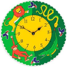 A fair trade jungle fun clock handcrafted by artisans in Sri Lanka.