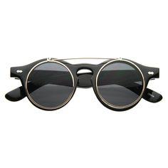 Men's #Eyewear / #Vintage Retro Steampunk Costume Round Circle Flip Up Clear Lens Glasses