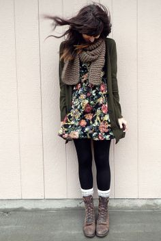 Flowry dress fashion with tights and boots... click on pic to see more