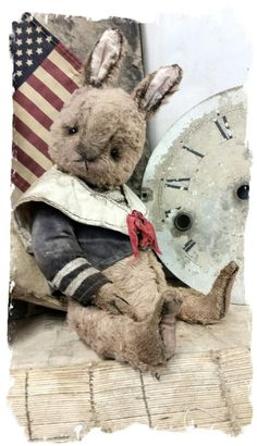 "Cabinet Size.... Aprrox. (8"" tall to tip of ears) (sits @ 6"" ) - Antique Classic Style aged brown color old sailor teddy bear, wearing..."
