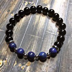 Mens lapis lazuli bracelet, mens bracelet, beaded bracelet, stretch bracelet, jewelry, gifts for him, stackable bracelet, yoga jewelry  8mm Onyx and lapis lazuli beads. Will customize to any size needed.