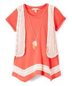 Look what I found on #zulily! Orange & White Crochet-Trim Top & White Crochet Vest - Tween #zulilyfinds