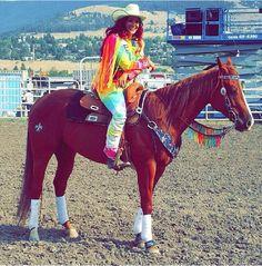 Fallon Taylor on her horse Baby Flo...