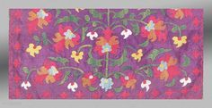 """Tadjik Embroidery, Central Asia, late 19th Century, 1'5"""" x 1'10    An elegant and finely stitched embroidery from Central Asia.     The theme of flowering plants is common to both the Tadjik and Uzbek women  ..."""