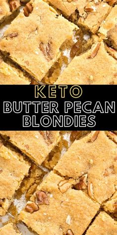 Low Carb Recipes To The Prism Weight Reduction Program These Keto Butter Pecan Blondies Are Loaded With Rich Butter, Vanilla And Pecans This Is The Perfect Low Carb Dessert At About Net Carbs Per Slice Healthy Low Carb Recipes, Low Carb Desserts, Low Carb Keto, Keto Recipes, Dessert Recipes, Delicious Desserts, Bar Recipes, Skinny Recipes, Yummy Food