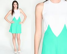 Vintage 60s Color Block Open Back White & Green Mini Dress $47