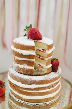Rustic strawberry wedding cake