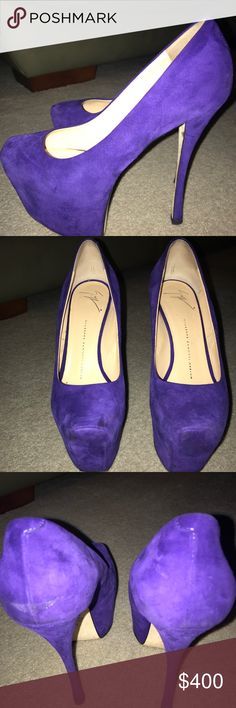 Purple suede GiuseppeZanotti platform pump size 38 Purple suede platform pump by Giuseppe! Shows signs of wear but can always be taken to professional leather cleaner. Size 38/8 super comfy! Box included Giuseppe Zanotti Shoes Platforms