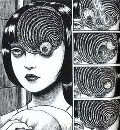 Excerpt from manga series Uzumaki, by Junji Ito. His work is so visceral and detailed and creepy, and it stays burned into your brain long after you've finished. Part of me hates it (I'm a horror wimp), but part of me can't stop reading.