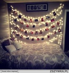 Photo and lights bedroom idea!                                                                                                                                                                                 Mais