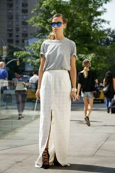 Perfect maxi skirt and t- shirt combination