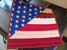 Patriotic mini quilt potholder by Serenstitches on Etsy
