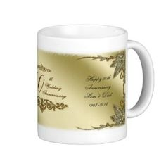 Shop Golden Wedding Anniversary Mug created by Digitalbcon. Create Your Own Mug, Golden Wedding Anniversary, Wedding Mugs, Personalized Mugs, Custom Mugs, Photo Mugs, Make It Yourself, Tableware, Wedding Gold