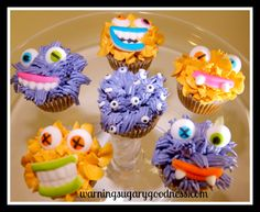 Silly monster cupcakes with video tutorial http://www.warningsugarygoodness.com/?p=227