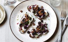Goat's curd on rye with blueberries and spiced walnuts by Signe Johansen. Stunning autumn colours.