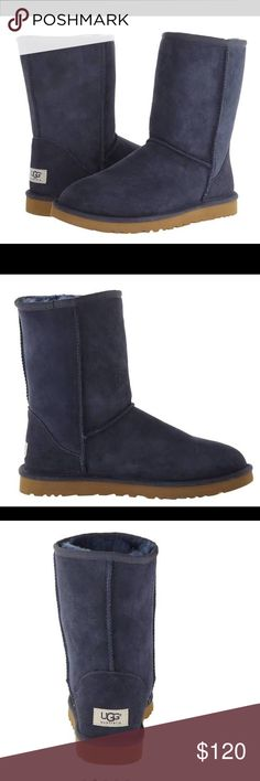 NEW Navy Blue Uggs! ❤️ I just bought these about 2 weeks ago!  I LOVE them!  I have worn them out of the house twice.  If you would like me to post a pic of the actual boots, just ask!  Only selling these to be able to buy the sweater type of Uggs! UGG Shoes Winter & Rain Boots