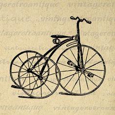 Printable Digital Antique Tricycle Bicycle Download Illustration Graphic Image Vintage Clip Art Jpg Png Eps 18x18 HQ 300dpi No.1390 @ vintageretroantique.etsy.com