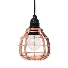 HK-living Hanglamp koper metaal Ø13x17cm, lab lamp Koper