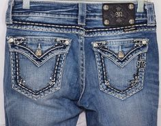 MISS ME Womens Jeans Straight Leg Embellished Studs Bling Pants SZ 26 Inseam 30 #MissMe #Straight