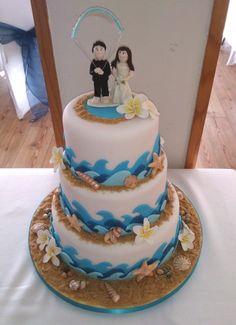 beach kite surf themed novelty 3 tier wedding cake