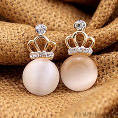 Wow~ Awesome Sweet Lady Opal Hollow Diamond Imperial Crown Earring ! It only $11.99 at www.AtWish.com! I like it so much<3<3!