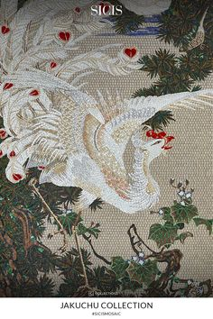 Jakuchu White Phoenix is one of the most representative paint, delving watchers into a idiosyncratic and imaginative world. SICIS brings new interpretation to Jakuchu paint, delivering it with 100% made-in-italy handmade artistic mosaic.