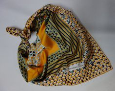 CHRISTIAN DIOR 60s Silk Scarf Near New by Vintageables on Etsy