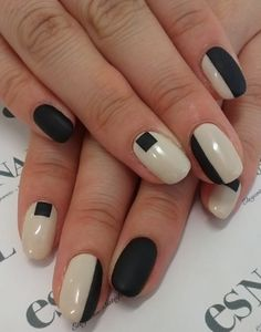 matte black and white manicure