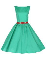 Mint green dress with red belt in Audrey Hepburn Style
