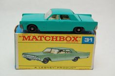 No.31 Lincoln Continental Turquoise w/Original Box by Matchbox Lesney England 60's toy Car Great Gift Idea Stocking Stuffer  for Dad by RememberWhenToys on Etsy