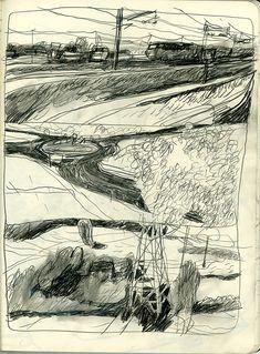 benoit guillaume Artist Journal, Artist Sketchbook, Landscape Sketch, Landscape Drawings, Draw Tips, Urban Sketching, Cool Drawings, Art Inspo, Art Sketches