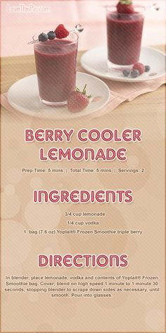 Berry Cooler Lemonade Smoothie Recipe smoothie recipe recipes easy recipes smoothie but I would do it without the vodka.