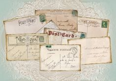 A Vintage PostCard Collection - Set of 8 ATC Cards - Digital Download - CARTE POSTALE - Tags - Embellishments-