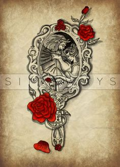 A delicate watercolor and ink piece inspired by the iconic Beauty and the beast. Your body is a canvas