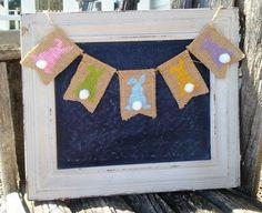 Easter Bunny Mini Burlap Banner, Easter Decor, Spring Banner, Easter Burlap Decor, Wreath Add on, Wreath Embellishment, by PrairieBurlapLiving on Etsy