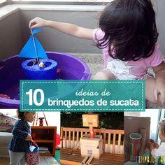 O melhor de se fazer brinquedos de sucata é que a brincadeira começa antes mesmo do brinquedo ficar pronto. A sucata é um convite à imaginação.