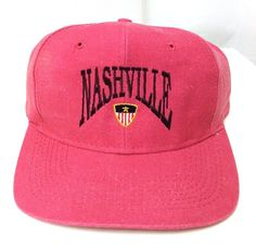 ca1ac8a76d649 Details about vtg NASHVILLE DOUBLE SNAPBACK HAT Red-ish Pink 90s Men Women  Tennessee TN Cobra